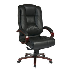 Office Star - Office Star Deluxe High Back Black Executive Leather Chair With Mahogany Finish - High Back Black Executive Leather Chair with Deluxe Locking Mid Pivot Knee Tilt and Mahogany Finish. Thick Padded Contour Seat and Back with Built-in Lumbar Support. One Touch Pneumatic Seat Height Adjustment. Locking Mid Pivot Knee Tilt Control with Adjustable Tilt Tension. Top Grain Leather. Mahogany Finish Padded Arms. Mahogany Finish Wood Covered Base with Dual Wheel Carpet Casters. What's included: Office Chair (1).