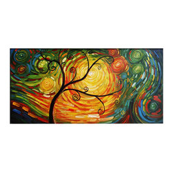 "Fabuart - ""Whirlwind"" - Modern Tree Oil Painting 1 Panel - 32x16in - This beautiful Art is 100% hand-painted on canvas by one of our professional artists. Our experienced artists start with a blank canvas and paint each and every brushstroke by hand."