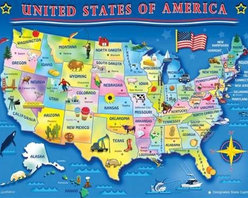 USA Map Puzzle - 60 Piece Jigsaw PuzzleWhat better way to learn where all of the States are than by finding them in a puzzle? This interactive children's puzzle is great for kids ages 6 and up. Each of the States are clearly labeled along with the State Capitols!