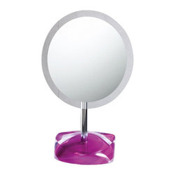 Gedy - Magnifying Mirror with Round Colored Base, Ruby Red - Decorative pedestal magnifying mirror with semi-transparent thermoplastic base. Base available in 6 colors. Pedestal magnifying mirror. Base is made of thermoplastic resins. Available in 6 colors. From the Gedy Twist Collection.