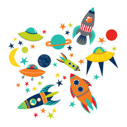 "WallPops - Blast Off Wall Decals - For the kid who loves space, these rockets, moon and star decals are a blast! Help your child's imagination take flight with colorful astronaut inspired space wall stickers.  This wall art kit contains 41 pieces on two 17.25"" x 39"" sheets. WallPops are repositionable and always removable."