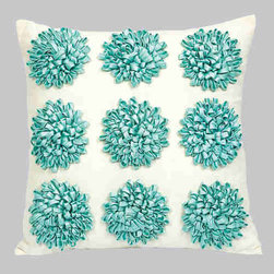 Jubilee Collection - Dahlia Turquoise 18 x 18 Decorative Pillow - - Includes the filler Jubilee Collection - P402