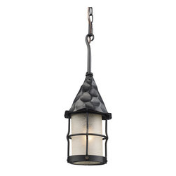ELK Lighting - ELK Lighting 388 Rustica Single-Light Outdoor Pendant - Bring Storybook Flair To An Old English, Cottage Or Spanish Revival-Style Home With The Rustica Collection. Hand-Hammered Iron And Scavo Seedy-Glass Cylinders Characterize This Series, Which May Be Ordered In Matte Black With White Scavo Glass And Antique Copper With Amber Scavo Glass.They May Be Used In Both Indoor And Outdoor Locations. .Specifications:
