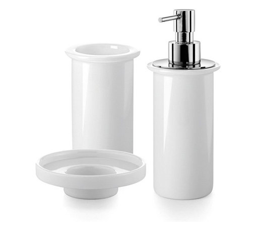 WS Bath Collections - Saon Bathroom Accessory Set in White Porcelai - Includes soap dish, tumbler and soap dispenser. Made by Lineabeta of Italy. Product Material: Porcelain. Finish/Color: White