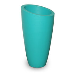 Modesto Tall Planter - Ocean Blue, Small - The Modesto Planter - a bold twist to a contemporary design. This planter has designer style, a modern aesthetic and long lasting durability. Great for any space, decorate with the Modesto on your patio, at your entrance, by the pool or at your business.Made from high grade polyethylene, built in UV inhibitors and backed by a 5 year warranty, this planter will last as long as its design. Choose from 7 colors and 3 different sizes!