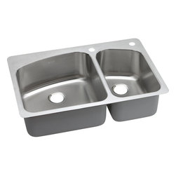 """Elkay - 33"""" x 22"""" x 8"""" Double Bowl Kitchen Sink - Product height: 39.13. Product min width: 9.94. Product depth: 23.4418. Gauge stainless steel 33"""" x 22"""" x 8"""" double bowl dual / universal mount kitchen sink. Dayton offers a complete line of sinks, drains and accessories from undermount, universal or top mount styles, Dayton sinks come in nearly every size and configuration and offer product lines and packages to meet every budget. All backed with the quality assurance of domestic manufacturing and customer care that is Dayton. Dayton premium stainless steel double bowl dual / universal mount sinkslim rim"""