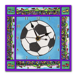 Soccer Wall Clock - This soccer clock is great for any sporty kid's room. Made in our studio, a print of an original watercolor is dry mounted onto black foam board and heat-sealed with a protective laminate so it's feather light and can't ceack or break. Each clock has a hanger on the back and comes in a gift box. The quartz movement runs on a single AA battery. Made in the USA. (Be sure to look at our soccer alarm clock, nightlight and magnets, too.)