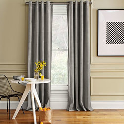 Velvet Grommet Window Panel, Dove Gray - Nothing says warm and cozy like velvet drapes.