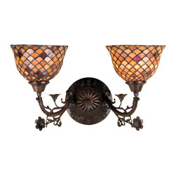Meyda Tiffany - Meyda Tiffany Sconces Wall Sconce in Mahogany Bronze - Shown in picture: Tiffany Fishscale 2 Lt Wall Sconce; A Louis Comfort Tiffany Studio Classic Fishscale Pattern Reproduced In Variegated Tortoiseshell Of Ambers And Burgundy. This Handsome Stained Glass Shade Is Used With Mahogany Bronze Hand Finished Hardware. A Versatile Two Light Wall Sconce To Complement Any Color Or Style.