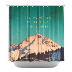 DiaNoche Designs - Shower Curtain Artistic - Mountain is Calling - DiaNoche Designs works with artists from around the world to bring unique, artistic products to decorate all aspects of your home.  Our designer Shower Curtains will be the talk of every guest to visit your bathroom!  Our Shower Curtains have Sewn reinforced holes for curtain rings, Shower Curtain Rings Not Included.  Dye Sublimation printing adheres the ink to the material for long life and durability. Machine Wash upon arrival for maximum softness on cold and dry low.  Printed in USA.
