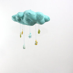Raindrops Keep Falling on My Head Cloud Mobile by Baby Jives Co. - Let calming turquoise raindrops pitter-patter down onto your nursery space.