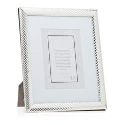 """Philip Whitney - Silver Diagonal Line Frame With Matting, 5""""x7"""" - Achieve a clean, polished look in your home using the Silver Diagonal Line Frame. Featuring a diagonal stripe pattern and thick white matting, this frame can accommodate two different photo sizes. Use a 5-by-7 inch photo with the matting and an 8-by-10 inch photo without it. Display the frame among transitional decor for a cohesive feel."""