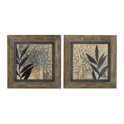 Uttermost - Uttermost New World 29 Inch Square Framed Art (Set of 2) - This Oil Reproduction Features a Hand Applied Brushstroke Finish. Frame is Made of Heavily Textured, Salvaged Wood with a Medium Woodtone Base with Many Layers of Taupe, Off-white and Olive Green Paint with a Gray Glaze Worn Thru to Give an Aged Look. Inner Lip of the Frame is Heavily Textured in Muted Emerald Green with Beige and Gray Distressing and a Gray Glaze.