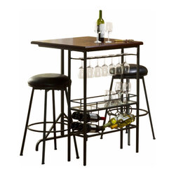 Hillsdale Furniture - Hillsdale Furniture Bardstown Bar Table with Two Backless Non-Swivel Stools - A sleek and streamlined design aesthetic defines the Bardstown bar table collection. Turn any nook or cranny into a swanky (And practical) serving station with this simple, space-saving piece, constructed of pewter-finished metal and wood in a rich cherry hue. The bar table includes space for more than a half dozen hanging glasses, eight wine glasses, and a glass platform for additional glasses and spirits. The bar table is accompanied by two backless bar stools with a glossy black vinyl seat covering. Some assembly required.