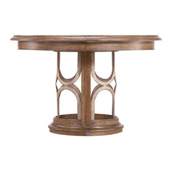 Stanley Furniture - Archipelago Monserrat Round Pedestal Table - Bringing together tropical design touches with Asian influences, the Monserrat Round Dining Table with a visually rich walnut inlay adapts to suit styles from casual to formal. The addition of one leaf expands the table to an oval, mirroring the arc-motif of the base. Made to order in America.