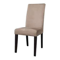 Chintaly Imports - Espresso/Taupe Microfiber Modern Parson Side Chair (Set of 2) - Modern Parson side chair. Cushion upholstered in soft Taupe Microfiber. Wood legs finished in Satin Espresso
