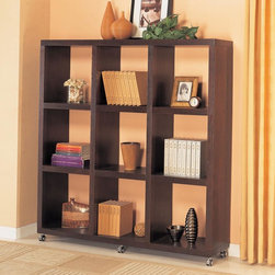 Coaster - Cappuccino Transitional Bookcase - A quick and simple solution to dress upp a wall or use it as a room divider. This functional wall unit is on six casters for mobility. Comes in a warm mahogany finish. Simple camlock assembly.