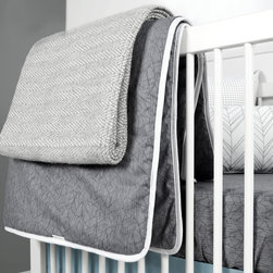OLLI+LIME - WEAVE BLANKET - Soft cotton blend throw blanket, in subtle gray weave design.