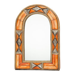 """12.5"""" Classic Moroccan Arched Henna Bone Mirror - This eye-catching handcrafted mirror is definitively Moroccan with its classic arch shape. The multi-dimensional frame features inlaid henna-dyed bone and hand-tooled antique silver- and brass-colored metal."""