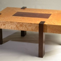 Offset Table - Dramatic figured woods highlight this Japanese inspired design. The 3:4 proportions commonly found in nature provide a pleasing look, the offset leg placement is a whimsical touch.