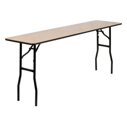 Flash Furniture - 18'' x 72'' Rectangular Wood Folding Training / Seminar Table - This wood folding table is very useful since it can be instantly stored and is easy to carry at the same time. This durable table was built for constant use in hotels/ banquet rooms/ training rooms and seminar settings. Not only is this table durable enough for the everyday rigors of commercial use this table can be used in the home when it comes to setting up your own personal party plans.