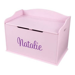 KidKraft Personalized Austin Toy Box - Pink - Her favorite color is pink so keep the trend going with the KidKraft Personalized Austin Toy Box - Pink! It's the perfect place for your little girl to store dolls books toys and games. This durable MDF toy box has clean rounded edges and will for sure fit into her stylish room. Its cutout handles make for easy rearranging and the flip-up lid includes safety hinges so no pinching and no tears. However we do foresee your child letting out an excited little squeal when she sees her toy box is personalized with her name! Just choose the font and color (pink is an option!) and you'll soon have a happy little tike. While both stylish and convenient the KidKraft Austin Toy Box is a fun way to teach your child to clean up. You can count the toys together as they're being put away. They'll see that clean-up time doesn't mean the fun has to end! This toy box also doubles as a functional bench. So when clean-up time is over your little girl can sit and enjoy one of her favorite books or decorate the bench with her most-beloved doll collection. The KidKraft Personalized Austin Toy Box is a convenient way to add another pink touch to your little one's dream room. About KidkraftKidKraft is a leading creator manufacturer and distributor of children's furniture toy gift and room accessory items. KidKraft's headquarters in Dallas Texas serves as the nerve center for the company's design operations and distribution networks. With the company mission emphasizing quality design dependability and competitive pricing KidKraft has consistently experienced double-digit growth. It's a name parents can trust for high-quality safe innovative children's toys and furniture.