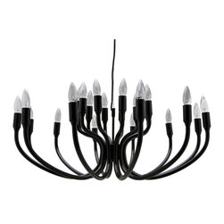 Nuevo Living - Adora Pendant Lamp - Decorate your space with black and light. This fixture hits refresh on the chandelier idea, with powder-coated metal gracefully curved for an effect that's uncontrived yet dramatic.