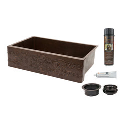 "Premier Copper Products - 35"" Hammered Copper Kitchen Apron Single Basin Sink/Scroll Design/Matching Acces - PACKAGE INCLUDES:"