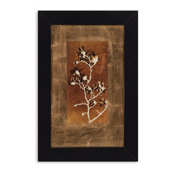 Bassett Mirror - Bassett Mirror Framed Under Glass Art, Gold Leaf Branches II - Gold Leaf Branches II
