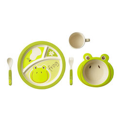 Bamboo Studio - Bamboo Studio Bamboo Kids 5 Piece Frog Set - Ecofriendly equals kid friendly when it comes to Bambooware. This colorful and playful set makes sitting down for meals fun. Made of bamboo, it's FDA approved and dishwasher safe, so you'll love it as much as the kids do. This set features a funny frog.