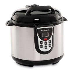 Focus Electrics - West Bend 6 Quart Elec Pressure Cooker Stainless Steel - West Bend electric 6 quart stainless steel pressure cooker 7 safety features multifunctional adjustable setting controls cool touch locking lid with pressure release dial