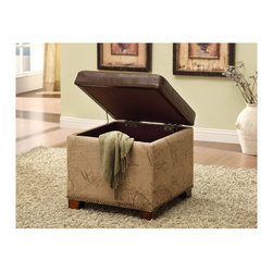 "Armen Living - ""Armen Living Storage Ottoman, Antique Brown"" - Rest a tray of  cocktails or stow blankets and throws inside this stylish  storage ottoman.  Accented with antique nails and wrapped in a harmony of plush antique bonded leather and jute fabric for lasting appeal."