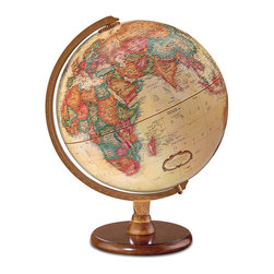 Replogle - Hastings Desktop World Globe - World globe with enduring appeal.  The successful blend of antique appearance, up-to-date cartography, attractive solid walnut-finish hardwood base with die-cast semi-meridian and mountains in raised relief make the Hastings  globe perfect for any setting.