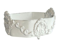 Ornate French White Ceramic Bowl - Classic French white ceramic bowl ideal for fruit, paperwhites, or Easter eggs!!!!