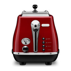 DeLonghi - Icona 2-Slice Toaster - DeLonghi's CTH2003R Icona 2-Slice Toaster, in red, features a unique, High-Gloss finish with chrome details for a stylish look. Four Push-Button functions with neon indicators (bagel, defrost, reheat and cancel) and the progressive, electronic browning control let you toast to perfection. The extra lift position allows for easy removal of small slices. Plus, the removable crumb tray slides out easily to make cleaning a breeze.2-Slice toaster features unique, High-Gloss finish with chrome details.