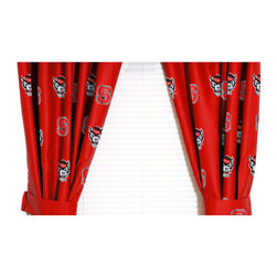 College Covers - NCAA North Carolina State Curtains Long Collegiate Drapes - Features: