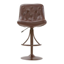 Home Decorators Collection - Nathan Adjustable Stool - Our Nathan Adjustable Stool goes from bar to counter height. Featuring a wide, tufted bucket seat and a steel footrest, this 360-degree swivel stool offers comfort and style wherever you need extra seating. Constructed of tubular steel and vinyl. Your choice of finish.