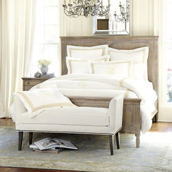 Ballard Designs - Isabella Bed - Includes headboard, footboard & side rails. Hardwood and fine veneers. With its warm honey stain with graywash finish and European allure, our Isabella collection transforms the bedroom into a romantic retreat. The Bed has a high, paneled headboard that creates a perfect frame for your favorite shams and pillows. Isabella Bed features: . .