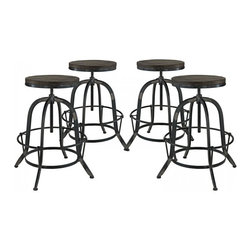 Modway Imports - Modway EEI-1607-BLK-SET Collect 4 Piece Dining Set In Black - Modway EEI-1607-BLK-SET Collect 4 Piece Dining Set In Black