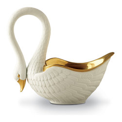 L'Objet - Petit White Swan Bowl with 24kt Gold - Inspired by the highly sculptural and detailed porcelain of the 19th century Empire period, the L'objet Swans are sculpted and finished entirely by hand. The hand-gilded 24K gold bowl and silky feathers are exquisite works of art.