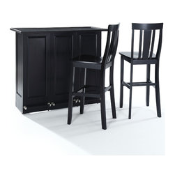 "Crosley - Mobile Folding Bar in Black Finish With 30"" Shield Back Stool - Elegantly entertain guests with this mobile folding bar cabinet constructed of solid hardwood and wood veneers. The bar's handsome raised panels are classically styled to enhance any home decor. The unit can be folded up to a third of its size and tucked away when you are finished entertaining, or just leave it open as a focal point in your room. Behind the bar, you will find plentiful storage space for spirits, glassware, and a host of other bar items. When open, the large 49-by-22-inch top is ideal for serving drinks or just hanging out with friends. Style, function, and quality make this mobile folding bar a wise addition to your home."