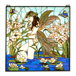 "Meyda - 30""W X 30""H Fairy Pond Stained Glass Window - Bring the fantastic beauty of this pond fairy inpeach opalescent glass, into your home or business withthis beautiful stained glass window.  The lovely fairyis captured wading in a pond colored in brilliant bluesaccented with green and brown leaves. Hundreds ofpieces of art glass are individually hand cut and handset by meyda artisans using tiffany's famous copperfoilprocess."