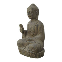 Golden Lotus - Chinese Solid Stone Hand Carving Sitting Buddha Statue - Look at this Chinese sitting Buddha statue which is made of stone.  It should be perfect to decorate your garden.
