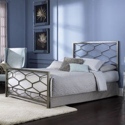 """FBG - Camden Metal Bed - Features: -Powder Coated Finish: Yes.-Gloss Finish: No.-Finish: Golden Frost.-Frame Material: Metal.-Upholstered: No.-Number of Items Included: 1 Headboard, 1 Footboard, 1 Bed Frame.-Hardware Material: Metal.-Non Toxic: Yes.-Scratch Resistant: No.-Mattress Included: No.-Box Spring Required: Yes -Boxspring Included: No..-Headboard Storage: No.-Footboard Storage: No.-Underbed Storage: No.-Slats Required: No.-Center Support Legs: Yes.-Adjustable Headboard Height: No.-Adjustable Footboard Height: No.-Wingback: No.-Trundle Bed Included: No.-Attached Nightstand: No.-Cable Management: No.-Built in Outlets: No.-Lighted Headboard: No.-Finished Back: Yes.-Reclaimed Wood: No.-Number of Center Support Legs (Size: Full): 0.-Number of Center Support Legs (Size: King): 2.-Number of Center Support Legs (Size: Queen): 2.-Distressed: No.-Bed Rails Included: Yes.-Collection: Camden.-Eco-Friendly: No.-Recycled Content: No.-Wood Moldings: No.-Canopy Frame: No.-Hidden Storage: No.-Jewelry Compartment: No.-Weight Capacity: 750 lbs.-Swatch Available: No.-Commercial Use: No.-Product Care: Wipe with a clean, damp cloth.Specifications: -FSC Certified: No.-EPP Compliant: No.-CPSIA or CPSC Compliant: No.-CARB Compliant: No.-JPMA Certified: No.-ASTM Certified: No.-ISTA 3A Certified: No.-PEFC Certified: No.-General Conformity Certificate: No.-Green Guard Certified: No.Dimensions: -Overall Height - Top to Bottom (Size: Full): 52"""".-Overall Height - Top to Bottom (Size: King): 52"""".-Overall Height - Top to Bottom (Size: Queen): 52"""".-Overall Width - Side to Side (Size: Full): 54"""".-Overall Width - Side to Side (Size: King): 77"""".-Overall Width - Side to Side (Size: Queen): 61"""".-Overall Depth - Front to Back (Size: Full): 80.5"""".-Overall Depth - Front to Back (Size: King): 85.5"""".-Overall Depth - Front to Back (Size: Queen): 85.5"""".-Overall Product Weight (Size: Full): 75 lbs.-Overall Product Weight (Size: King): 97 lbs.-Overall Product Weight (Size: Queen): 87 lbs.-Headboard Dimens"""
