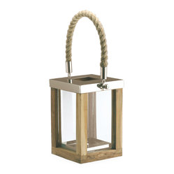 Kathy Kuo Home - Beach Style Teak Stainless Steel Square Outdoor Candle Lantern - Fulfill your quest for endless summer with this nautical-inspired lantern. This outdoorsy piece features a teak-surround, stainless steel top, and maritime rope handle. Year-round, you will light up with the effortless decor that anchors you to lazy, hazy summer days.