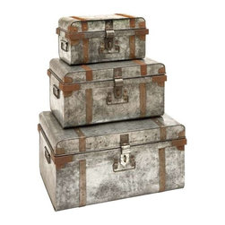 "Benzara - Galvanized Trunk with Rivets and Metal Strips - Set of 3 - Galvanized Trunk with Rivets And Metal Strips - Set of 3. Crafted with great precision, this Set of metal Galvanized Trunk is sure to make for an attractive decor piece. It comes with following dimensions: 23"" W x 16"" D x 12"" H, 12"" W x 12"" D x 10"" H, 15"" W x 15"" D x 9"" H."