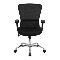 Flash Furniture - Flash Furniture Office Chairs Mesh Executive Swivels X-GG-B7035-OG - This office chair has a curved back that is eye-catching paired with its chrome base. The breathable mesh back keeps you cool when sitting for long periods of time. Chair offers comfort and adjustable mechanisms at an affordable price. [GO-5307B-GG]