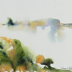 Lost Art Salon - 2004 Original Abstracted Framed Watercolor Scene by Alysanne McGaffey - Water, land and sky mingle almost indistinguishably, as they sometimes do on the misty Pacific Coast, in this original watercolor by noted Bay Area artist Alysanne McGaffey. Her soft, natural colors, abstracted brushstrokes and use of empty space capture the quiet simplicity of the coastal landscape. This painting would look as light as air in your contemporary space, surrounded by neutral colors.