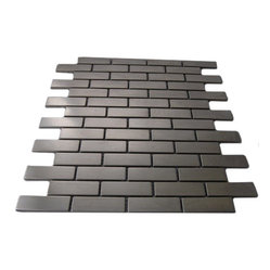 "Stainless Steel Metal Tile Brick Pattern - sample-STAINLESS STEEL .75""x2.5"" GLASS TILES 1/4 SHEET SAMPLE You are purchasing a 1/4 sheet sample measuring approximately 6"" x 6"". Samples are intended for color comparison purposes, not installation purposes. -Glass Tiles -"