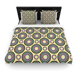 """Kess InHouse - Mydeas """"Patio Decor"""" Yellow Teal Woven Duvet Cover (Queen, 88"""" x 88"""") - Add a splash of artistically inclined comfort to the average down comforter with a large focus to your bed! Our duvet cover is made of a beautifully crafted woven polyester fabric on top and a comforting and soft cotton/poly blend on bottom! We highly recommend washing your artwork before laying it onto your bed for added comfort and softness! These are totally machine washable and won't fade!"""